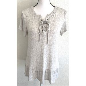 ava james gray tie blouse top shirt size medium